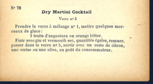 Receta de Dry Martini de 1904